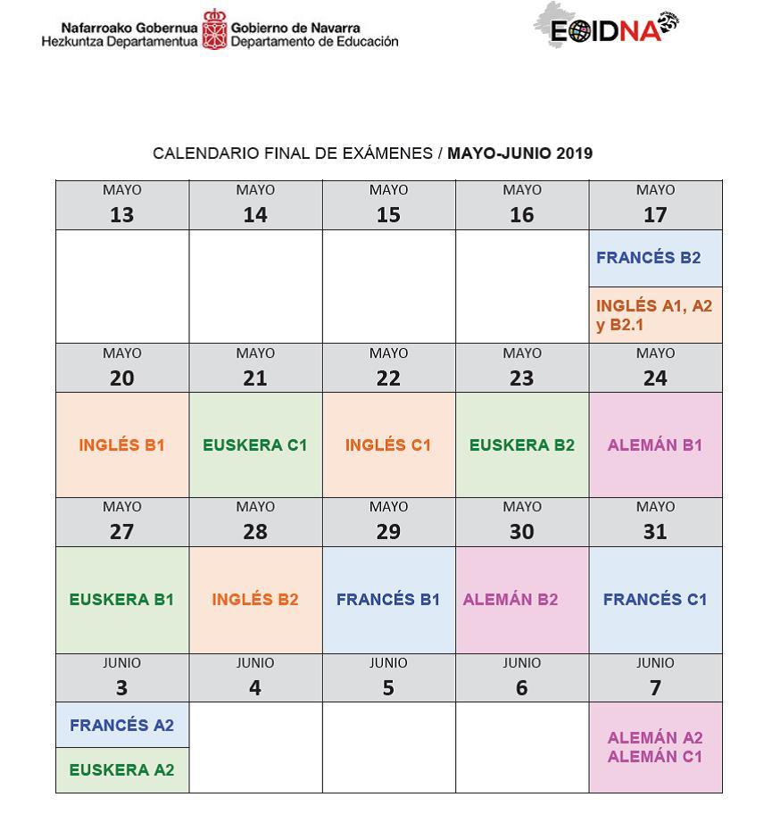 Junio Calendario 2019.Calendario Pruebas Escritas Mayo Junio 2019 Eoidna
