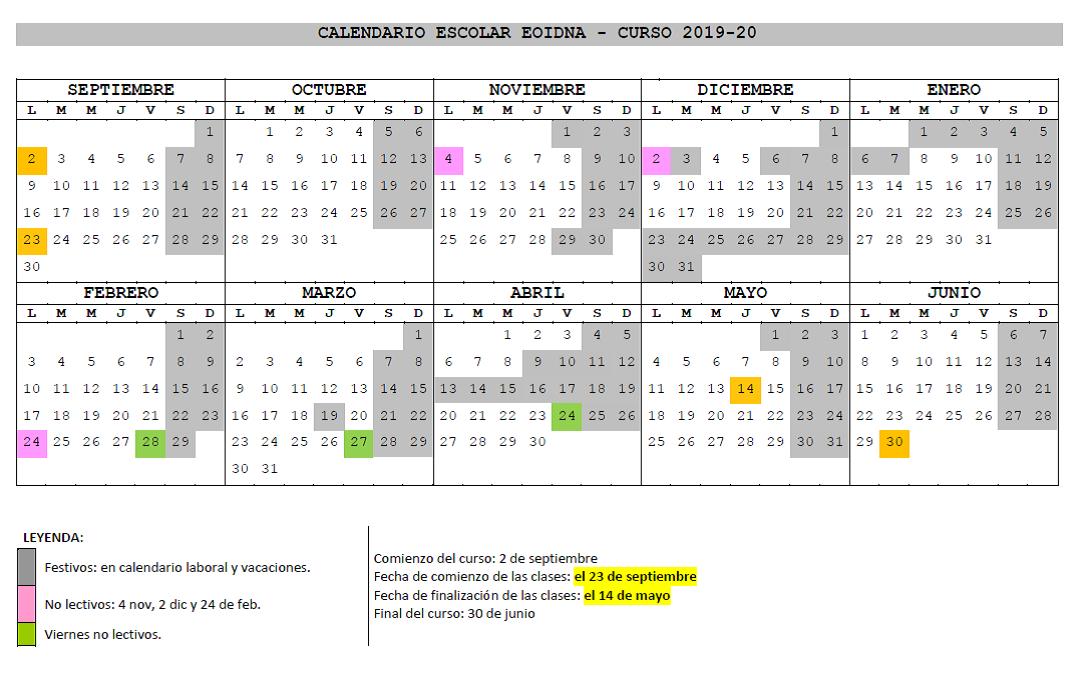 Calendario Laboral 2019 Navarra.Calendario Y Horarios Eoidna